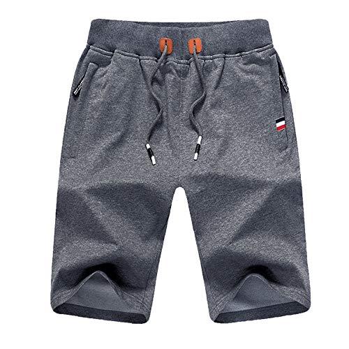 ZOXOZ Pantalones Cortos de Verano para Hombre Algodón Deportivos Shorts de Jogging Running Fitness Gym con Bolsillos con Cremallera en la Cintura elástica Gris Oscuro S