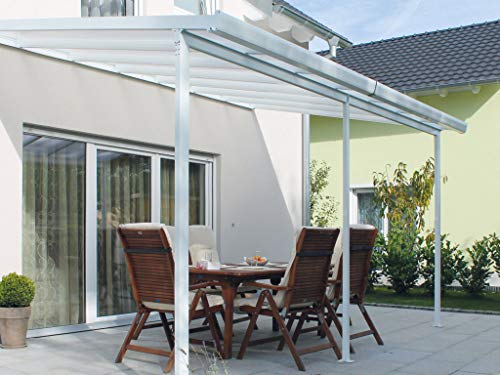 Acrylshop24 Terrassendach Terrassenüberdachung Set mit Alu-Unterkonstruktion Weiß Typ B 4,2m x 3m