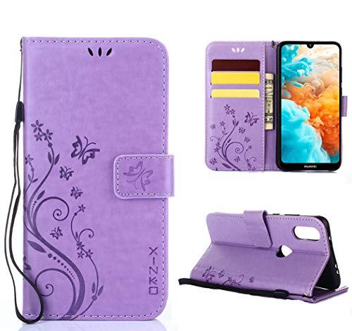 XINKO Huawei Y6 2019 Hülle, Retro Blumen Muster Design -[Ultra Slim][Card Slot] Wallet Tasche Hülle für Huawei Y6 2019 (Lila)