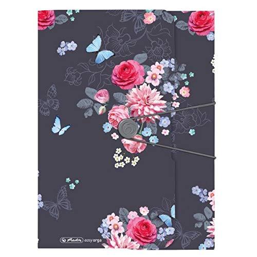 Gummizugmappe A4 Ladylike Flowers mit 3 Einschlagklappen und Gummizug, 1 Stück
