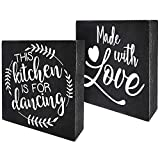 One block with two sides! The perfect small gift to show your style and personality! MEASURES 6 x 6 x 1.5 inches The box sign will sit on your shelf or tabletop for easy display