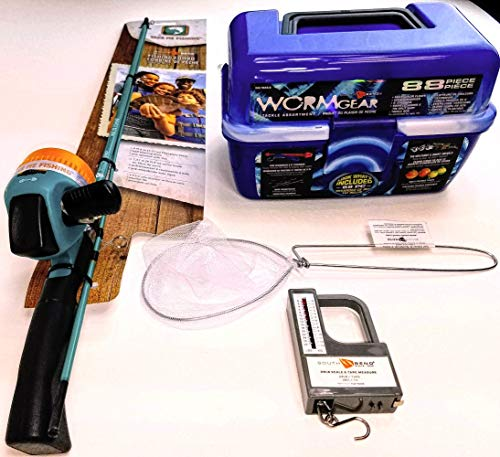 SouthBend 92 Piece Kids Fishing Pole and Wormgear Tackle Box - with Net, Fish Scale, Rod and Reel Kit for Boys and Girls