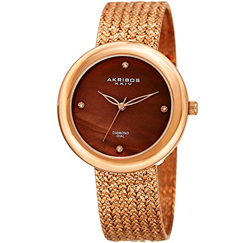 Akribos XXIV Reloj cuarzo Acero inoxidable Casual para Mujer, color: Rose gold-toned (modelo: ak903rgbr)