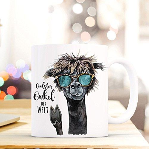 ilka parey wandtattoo-welt Tasse Becher mit Lama & Spruch Coolster Onkel der Welt Zitat Geschenk Kaffeebecher mit Motto ts575