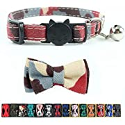 Pipidog Cat Collar Bowtie with Bell, Quick Release Buckle Safety and Durable Kitties Kittens Cats Breakaway Collar(6.8-10.8in) (Camouflage 1)