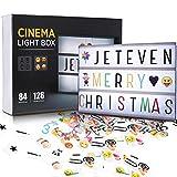 Jeteveven Caja de Luz A4 con 210 Letras, Lightbox LED Letras Emoji Lámparas Números...