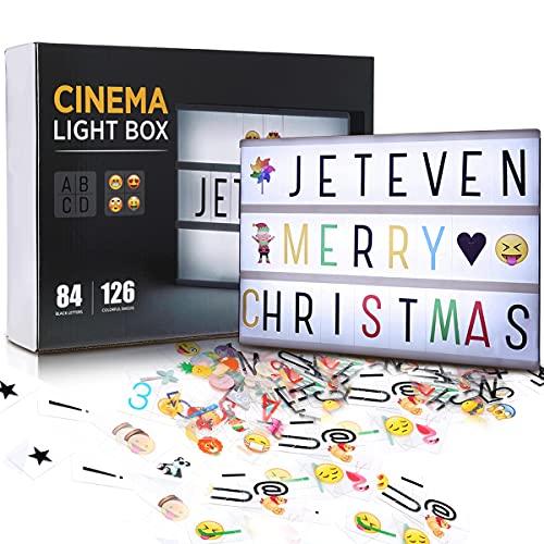 Jeteveven LED Lightbox mit Buchstaben, A4 Leuchtkasten Leichte Box Leuchtkasten, Boxen Beleuchtung, Lichtbox mit 210 PCS Buchstaben Bunten Symbole Emojis mit USB, fur Party Deko Geschenk