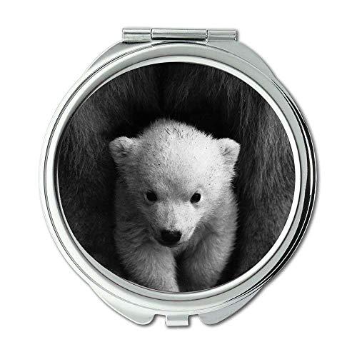 Yanteng Spiegel, Compact Mirror, Tier Tierfotografie Bär, Taschenspiegel, tragbarer Spiegel