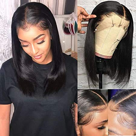 13x4 Deep Part Lace Front Bob Wigs Natrual Black 150% Density Brazilian Human Hair Bleached Knots Pre Plucked Natural Hairline 10 Inch Straight Short Bob Wigs #1B for Women (Could Be Restyle)
