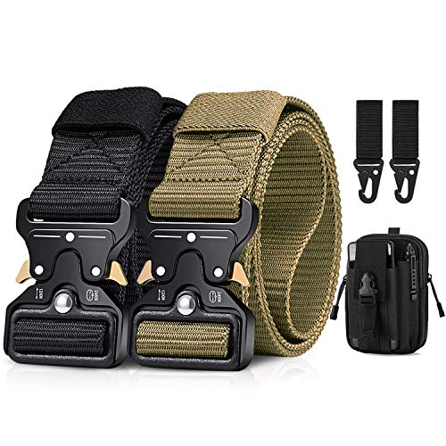 """BESTKEE Tactical Belt, 2-Pack Military Rigger 1.5"""" Nylon Web Work Belt with Molle Pouch & Hook"""