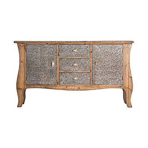 Vipalia tafel, dressoir, tv-meubel, gelakt sparrenhout en aluminium eetkamermeubel voor slaapkamer. Klassieke stijl. Silver XII collectie. Kleur: natuurlijk goud. klassiek Buffet 2