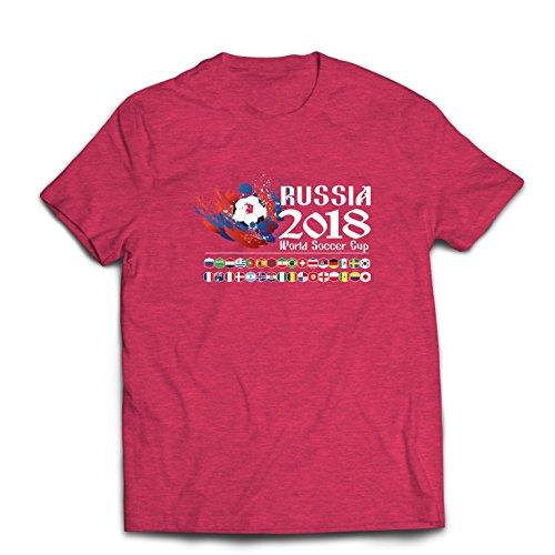 lepni.me Camisetas Hombre Copa Mundial de Rusia 2018, Las 32 Banderas Nacionales del Equipo de fútbol (Small Brezo Rojo Multicolor)
