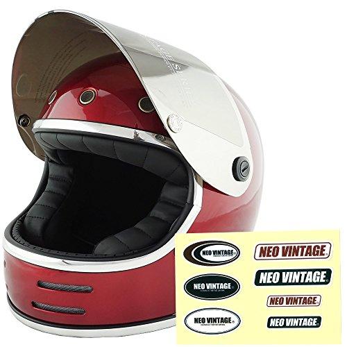 NEO VINTAGE レトロフューチャー フルフェイス SG規格品 ステッカー付 [キャンディーレッド×シルバーミラーシールド 赤 Mサイズ:57-58cm対応] VT-9 バイクヘルメット