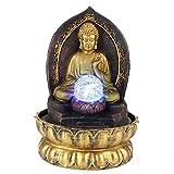 Weiyiroty Fuente de Agua de Sobremesa, Fuente de Escritorio CláSica de Buda con Bola de Cristal y Luz LED, DecoracióN de Adornos de Mesa para el Hogar de Resina (Oro)(Enchufe de la UE 220V)