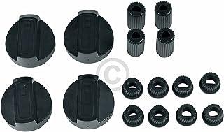 Lot de 4 boutons de commande universels pour cuisinière - Avec adaptateurs - 38 mm de diamètre - Lot de 16 pièces - Noir