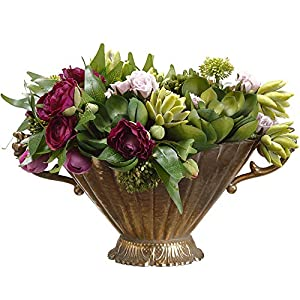 9″ Hx16 W Artificial Ranunculus Flower, Sedum & Succulent Arrangement w/Planter -Purple/Green