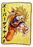 Dragon Ball Z Goku Super Saiyan 3 Japanese Fleece Throw Blanket | Features Goku's Super Saiyan 3 Form | 60 x 45 Inches