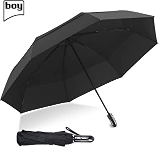 boy TF 54inch Large Umbrella Auto Open Close,210T Dupont Teflon Coated Compact Travel Umbrella, Windproof Double Canopy Construction Golf Umbrella, Perfect for 1~2 People, Unisex&Family, Black