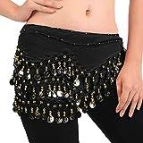 FLOFIA 1pc Cinturón Danza del Vientre Mujer Bufanda Pañuelo de cCintura Cadera Falda para Danza Baile Oriental con 128 Monedas Lentejuelas Belly Dance Scarf Belt - Negro