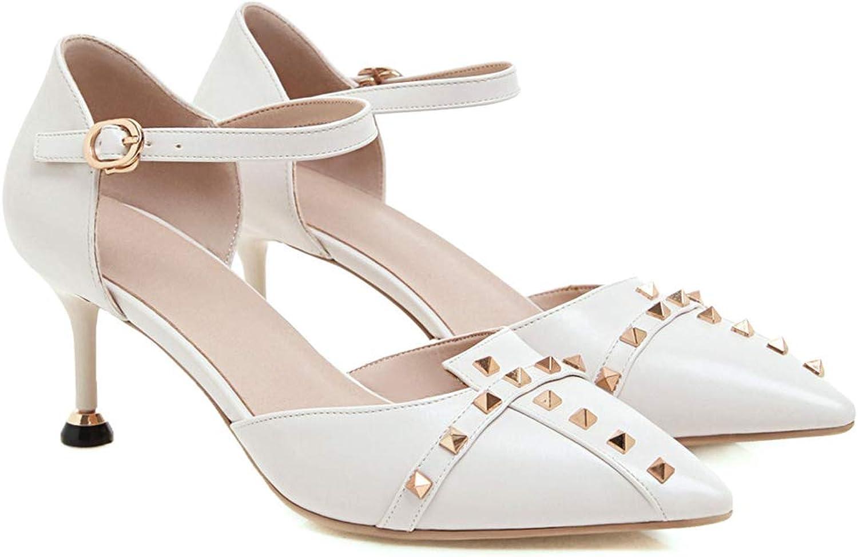 ZYNENBaotou Sandals Fashion Pointed Single schuhe Buckle Stiletto Schuhe Frühling und Summer Word Buckle Rivet Hollow Cat mit High Heels