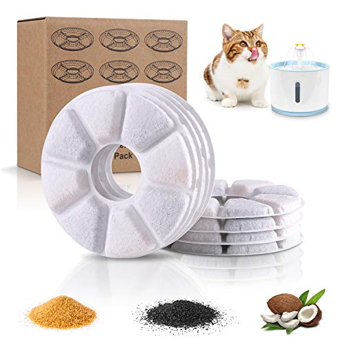 Cat Water Fountain Filter Replacement, 8 Pack Replacement Carbon Filters for Pet Fountain, Water Fountain Filter Efficient Quadruple for Cats, Dogs, Multiple Pets