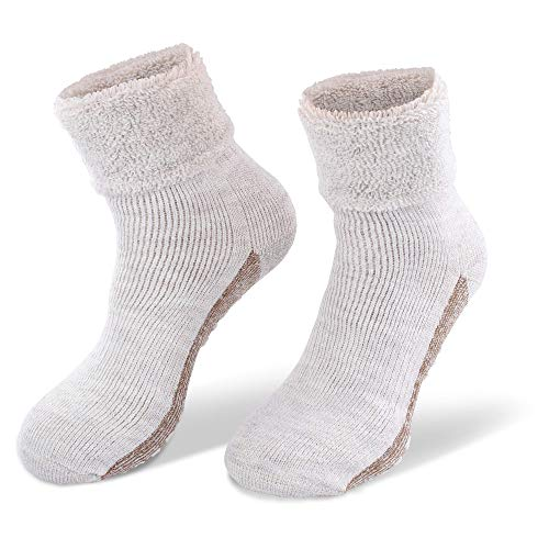 NewwerX 2 Paar Alpaka-Wollsocken mit ABS-Antirutschsohle - Die sanfte Entspannung für die Füße - so warm und weich, Home-Socken aus feinster Wolle (Beige, 39/42)