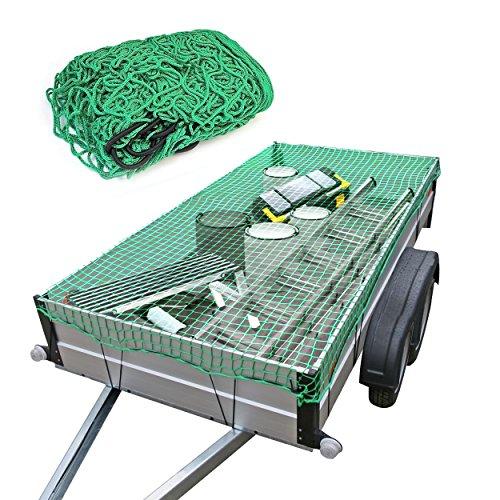 Red para remolque de Oramics–2x 3metros–Nailon elástico resistente en color verde, para remolques de turismos