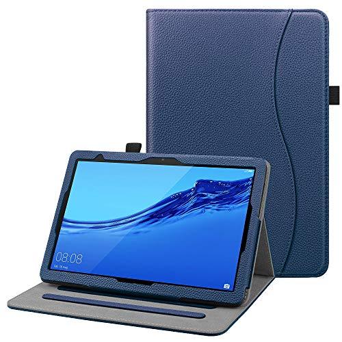 Fintie Hülle für Huawei MediaPad T5 10 - Multi-Winkel Flip Betrachtung Kunstleder Schutzhülle mit Dokumentschlitze für Huawei MediaPad T5 10 10.1 Zoll 2018 Tablet PC,Marineblau