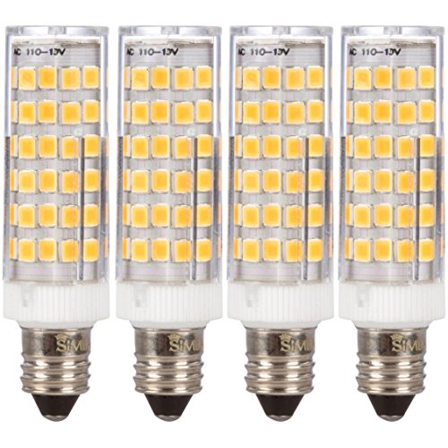 Simba Lighting LED E11 T4 Mini-Candelabra JD Light Bulb 5W 40W to 50W Halogen Replacement (4 Pack) 76SMD2835 Corn JDE11 120V for Chandeliers, Sconce, Cabinet Lighting, Soft White 3000K, Dimmable