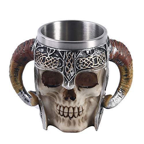VOANZO 14oz Viking Ram Horned Pit Lord Warrior Skull con casco de batalla cerveza Stein Tankard taza de café