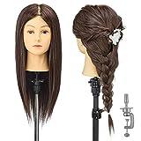 Cabeza de entrenamiento AIMEI, 90% cabello real, 16 pulgadas, cabeza de muñeca de maniquí de...