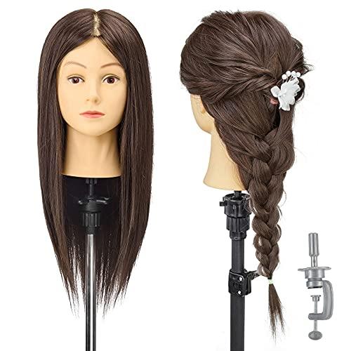 Cabeza de entrenamiento AIMEI, 90% cabello real, 16 pulgadas, cabeza de muñeca de maniquí de peluquería para corte de pelo profesional con peine de peinado + abrazadera gratis