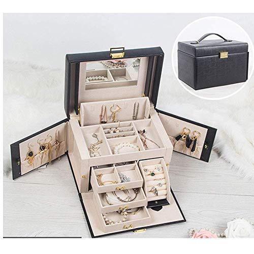 Prinses Jewelry Box Simple Oorbellen Ketting Jewelry Storage doos met slot grote capaciteit opbergvak multi-color optie W12 / 11 (Kleur: Zwart, Maat: 26cm * 18cm * 16cm) lili