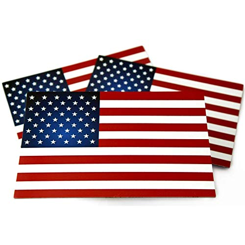 """American Flag Car Magnets Pack of 3 (4""""x6""""x.035) Red White & Blue  100% Made in USA  Fade Resistant for Outdoors, Show Your Patriotism! for Cars, Trucks, Refrigerators, Metal Buildings, Mailboxes etc"""