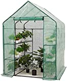 Portable Mini Garden Greenhouse for Outdoors, Small Walk-in Plant Greenhouse 3 Tier 4 Shelves w/ PE Cover & Roll-Up Zipper Door, Waterproof Cloche Tent, Ground Pegs & Ropes for Stability
