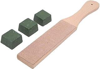 Cuir Strop Polissage Compound Kit Poignée en bois Outil de taille d'âne à palette double face pour affûtage de petits 4pcs