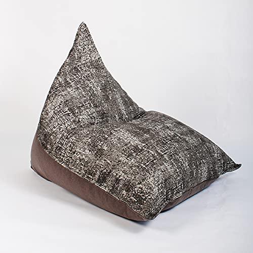 Tingting1992 faules Sofa Textil Lazy Sofa Dreieck Bohnenbeutel Abnehmbare und waschbare Einzelzimmer Balkon Deckstuhl Tatami Bean Bag Chair (Color : Dark Brown, Size : L126W112H112cm)