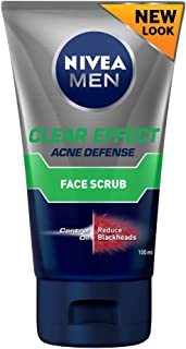 NIVEA Men Clear Effect Oil Control & Anti-Blackhead Facial Scrub, Formulated with Multi-Action 8 to Combat Oil & Prevent Blackheads, 100ml