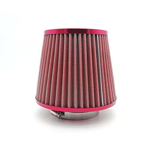 Heinmo filtre d'entrée d'air Hauteur Haut débit Cône d'admission d'air froid universel 7,6 cm 76 mm Rouge