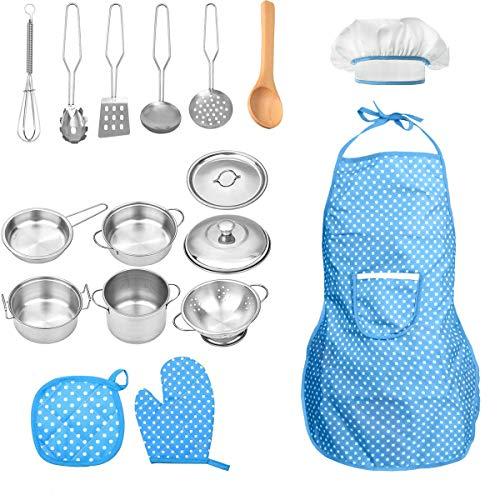 FUQUN 17 Pezzi Kit da Cucina Set da Gioco per Bambini,Set Mini Pentole e Padelle in Acciaio Inossidabile,Grembiule per e Cappello da Cuoco, Cosplay di Chef per Ragazze Ragazzi Bambini