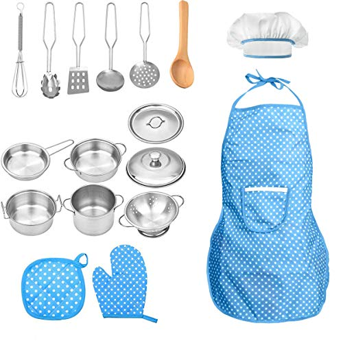 FUQUN 17 Pcs Pretend Play Kitchen Cookware Set Cooking Toy Cookware Playset Stainless Steel Pots & Pans Bundle For Kids - Childrens Role Play Set, Mud Kitchen Accessories for Children
