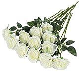 Hawesome 12 rosas artificiales de flores falsas de tallo largo de rosas para decoración de boda, ramo de flores decorativas para decoración del hogar, centros de mesa en rojo blanco (A blanco)