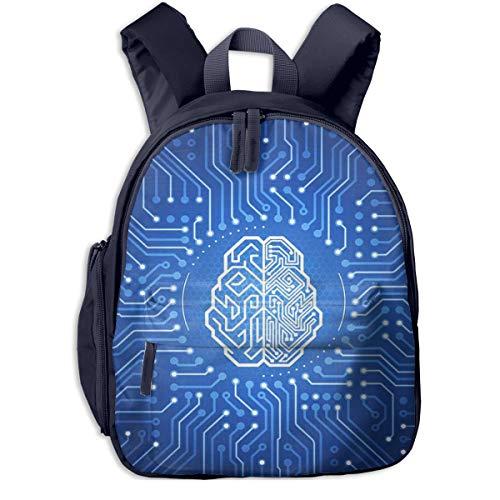 Mochilas Infantiles, Bolsa Mochila Niño Mochila Bebe Guarderia Mochila Escolar con Cerebro Pictograma Ciberespacio Electrónico para Niños De 3 a 6 Años De Edad