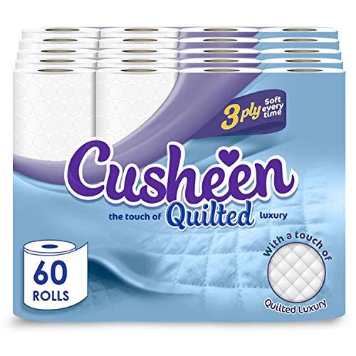 Cusheen Toilet Roll Bulk Buy – Pack of 60 Rolls (5 x 12 packs) Quilted...