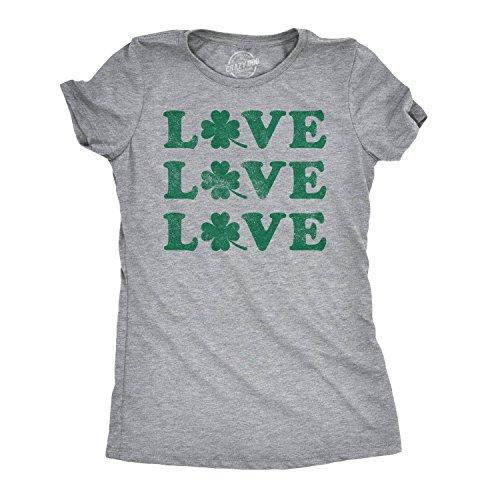 Womens Love Shamrock T Shirt Cute Four Leaf Clover Saint Patricks Day Patty Tee (Light Heather Grey) - M