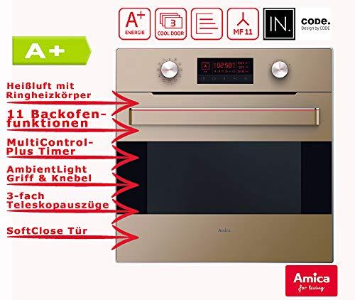 Amica EB 63523-2 M Einbaubackofen Beige glänzend A+ / Teleskopauszüge/Backofen Timer/Grill/Aqualytic Reinigungsfunktion