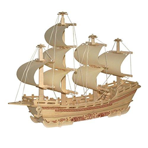 MagiDeal Merchant Ship Shapes DIY 3D Jigsaw Wooden Model Construction Kit Toy Puzzles