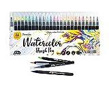 Watercolor Brush Pens 24 Vibrant Watercolor Markers Pre-Filled Color Paint Brush Pens Precision Soft...