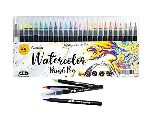24 rotuladores de acuarela vibrantes, de precisión de nailon suave, ideal para colorear, caligrafía, pintura, dibujo, caja de juguetes para artistas