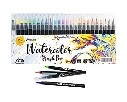Watercolor Brush Pens 24 Vibrant Watercolor Markers Pre-Filled Color Paint Brush Pens Precision Soft Nylon Brush Tips Ideal for Coloring, Calligraphy, Painting, Drawing - Artist's Toy Box